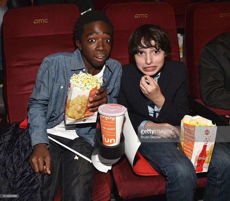 Actors Caleb McLaughlin (L) and Finn Wolfhard attend the 'Shin Godzilla' premiere presented by Funimation Films at AMC Empire 25n2016 New York Comic Con on October 5, 2016 in New York City.