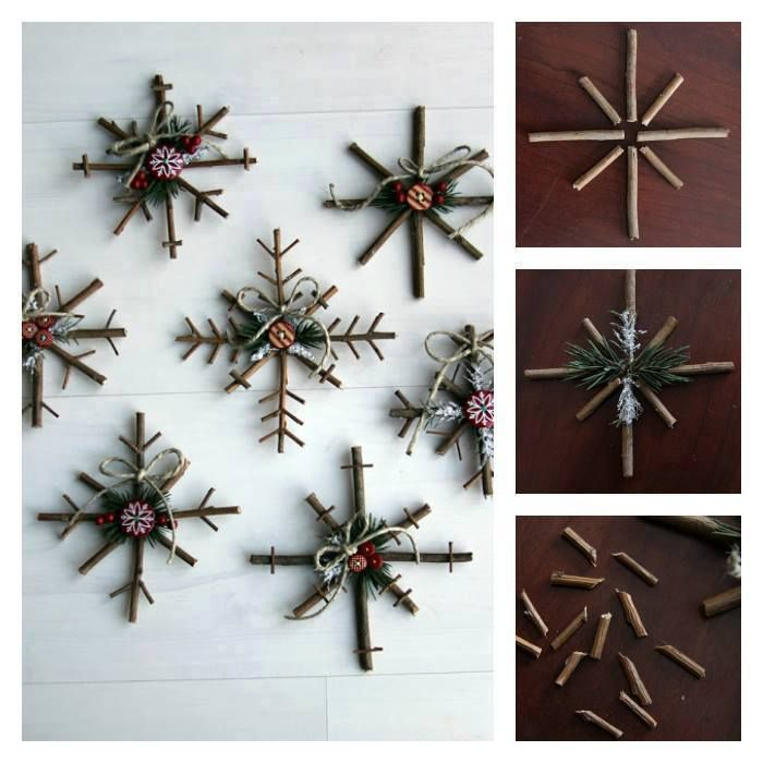 DIY Rustic Snowflake  : Daw's Tip try with Cinnamon sticks!!  you can add rosemary if you do not like the scent of Pine to give it that Rustic look add some hypericumn berry you find them in floral shop they come in white peach red and green or use cranberries