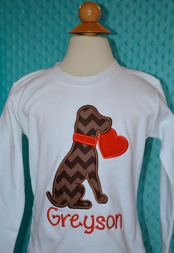 Personalized Valentine's Dog Puppy Heart Applique Shirt or Onesie Girl or Boy