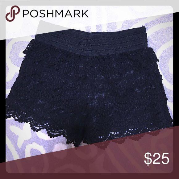 Black Crochet Shorts Size large Shorts
