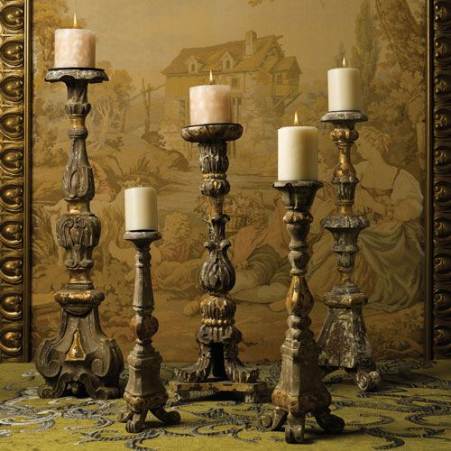 Renaissance Candlesticks Wooden Candle Holders Candle