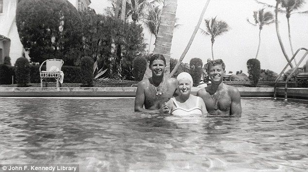 Pride and joy: Rose Kennedy (center) swims with her sons Joe Jr (left) and John (aka Jack,...