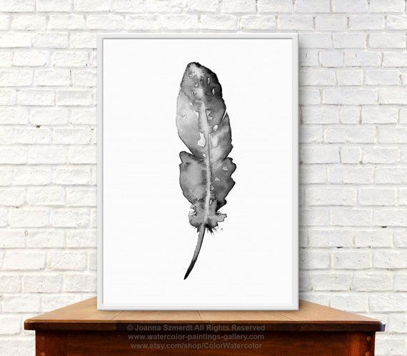 Set of 2 Natural feathers Native American watercolor