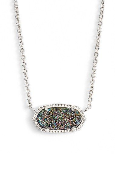 Kendra Scott 'Elisa' Pendant Multi Drusy/Silver Necklace available at #Nordstrom