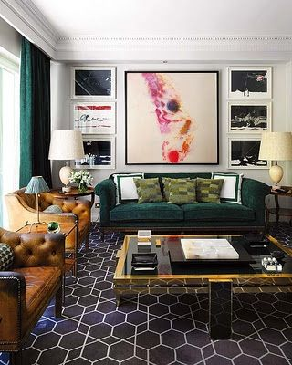 Perfect Old Leather Chairs Green Velvet Sofa Geometric Rug Art Deco Table. Quite  Busy But Amazing Room. Find This Pin And More On Hollywood Regency Living  ...
