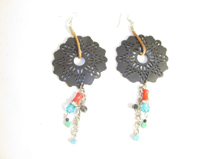 Handmade earrings with black leather filigree (1 pair)  Made with black leather filigrees, antiallergic hangings, leather cord, chain, semiprecious stones and glass beads.