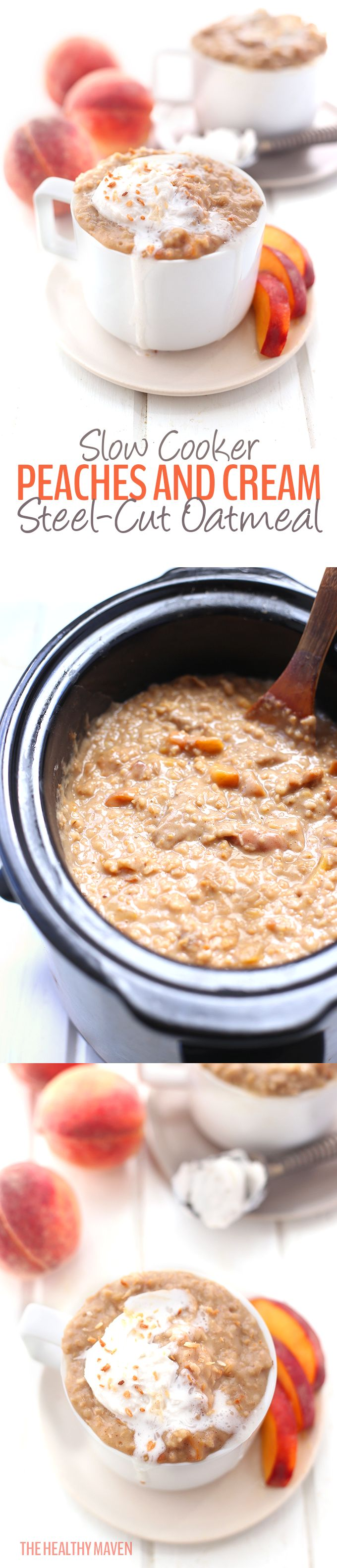 Made with steel-cut oats, fresh peaches and coconut cream this gluten-free and dairy-free, hands-off recipe for slow cooker peaches and cream steel-cut oatmeal is guaranteed to become a breakfast favorite!