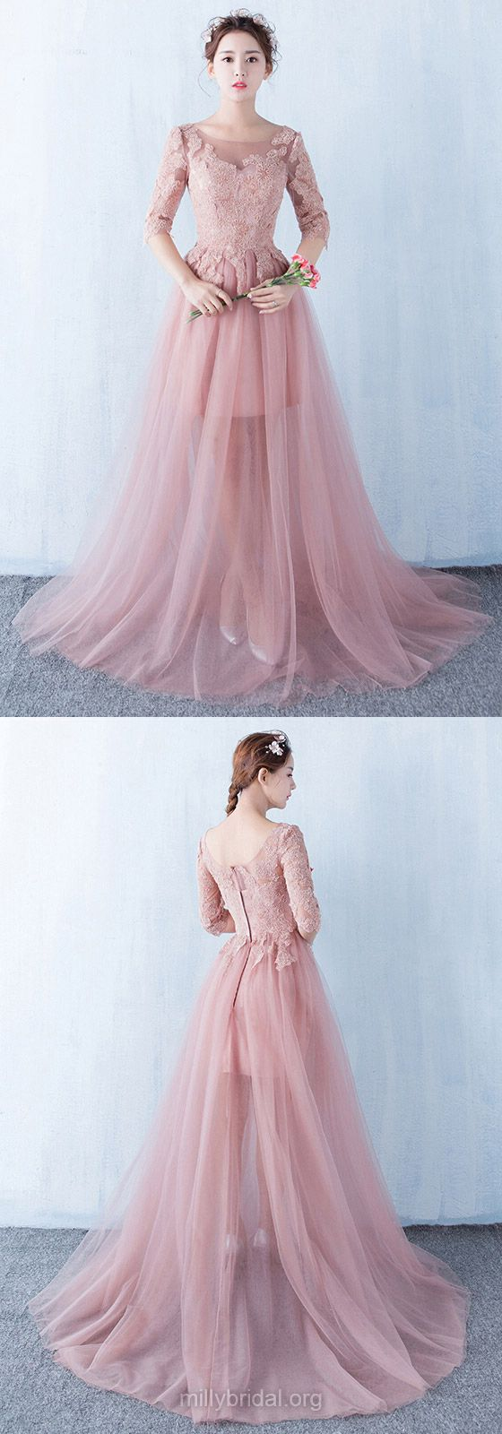 Pink Prom Dresses Long, 2018 Party Dresses Princess, Scoop Neck Tulle Formal Dresses Lace, 1/2 Sleeve Evening Gowns Modest