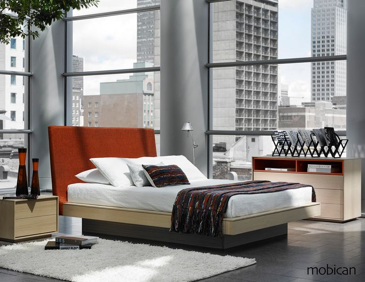 Azura modern wood bedroom collection by Mobican Furniture. Optional storage drawers under bed. Available in several finishes on oak or walnut and optional color open shelves. Upholstered or wood headboards. Made in Quebec, Canada.