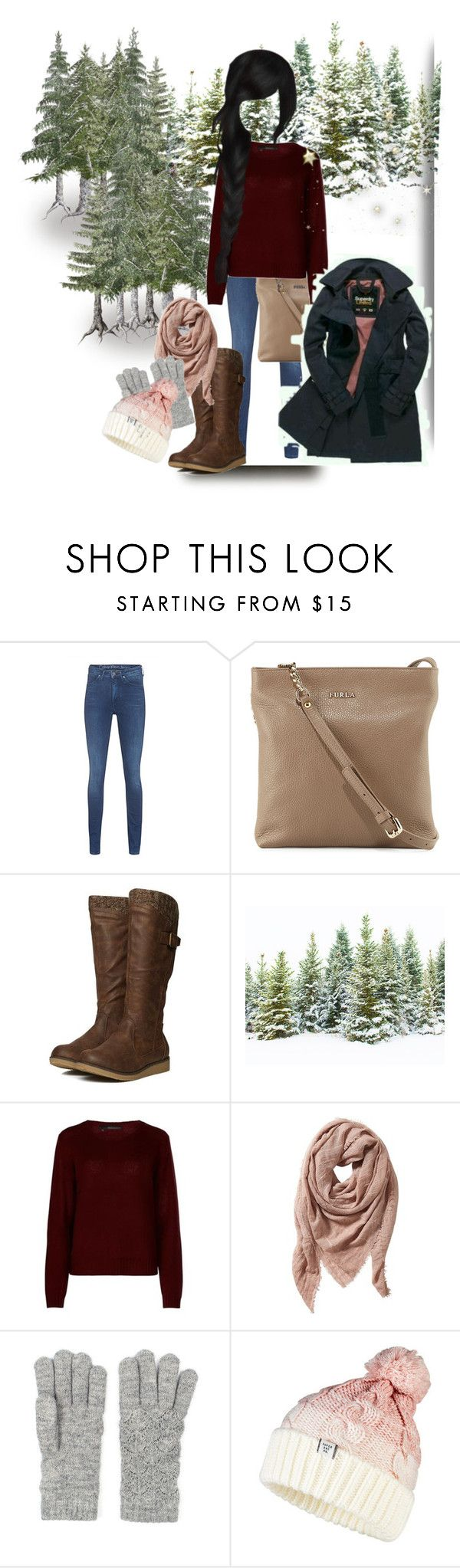 """""""Winter outfit"""" by maryann-bunt-deile ❤ liked on Polyvore featuring Calvin Klein Jeans, Furla, 360cashmere, TravelSmith and Superdry"""