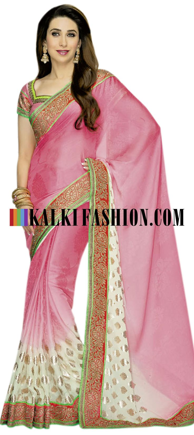 Buy it now  http://www.kalkifashion.com/shaded-pink-and-cream-saree-with-border-work.html Shaded pink and cream saree with border work
