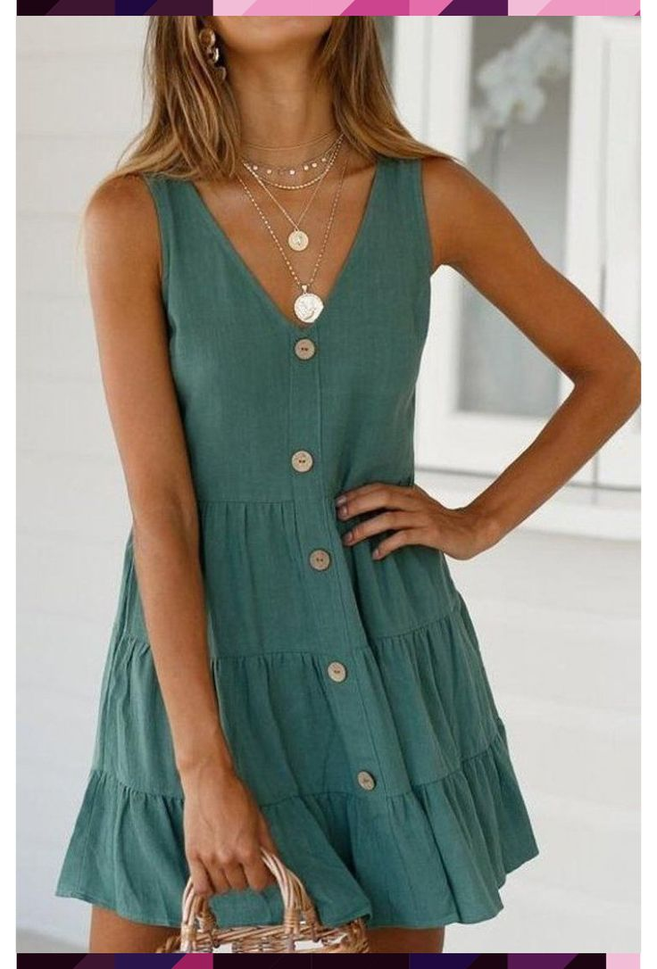 fashion casual v-neck solid pleated dress casual dress