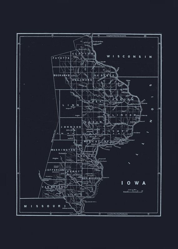 55 best blueprint maps images on pinterest antique maps old state of iowa map blueprint map of iowa vintage map office wall art professional reproduction malvernweather Images