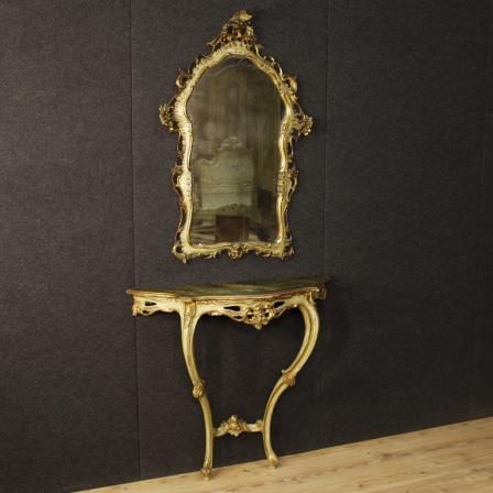 1350€ Venetian console table with mirror in lacquered and golden wood. Visit our website www.parino.it #antiques #antiquariato #furniture #lacquer #antiquities #antiquario #console #table #tavolo #decorative #lacquer #lacquered #interiordesign #homedecoration #antiqueshop #antiquestore #gold #golden #gilt #gilding #mirror