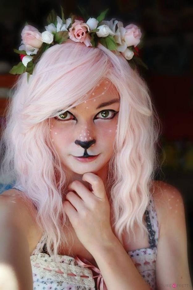 Fun Faun Makeup | How To Do Fawn Cosplay Makeup Tutorial! Quick & Easy DIY Dramatic Faun Makeup By You're So Pretty. http://youresopretty.com/10-halloween-face-makeup-ideas/