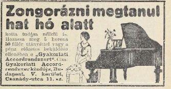 Zongorázás távoktatással. Tolnai Világlapja, 1914.09.27.