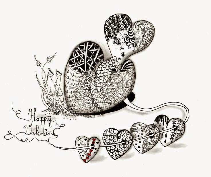 zentangles con forma de corazon para san valentin