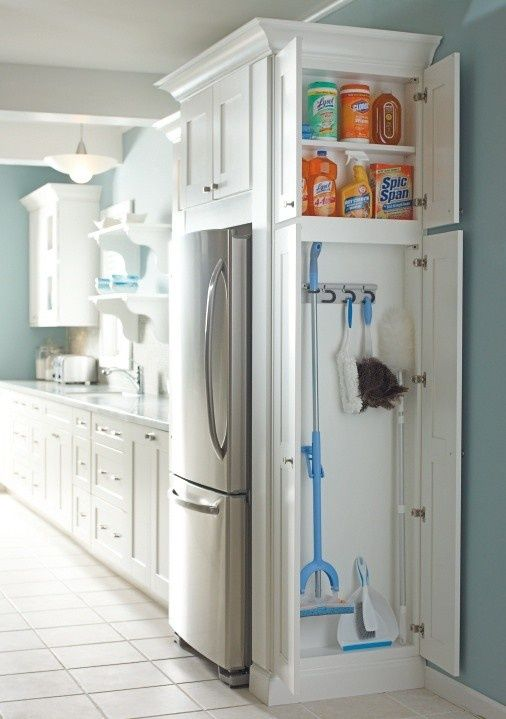 Brilliant!!!!! Instead of around the fridge, this might become the cabinetry around the laundry room door..turn side cabinets flush to wall and include one over the door..... Hidden storage solutions are essential in the kitchen.