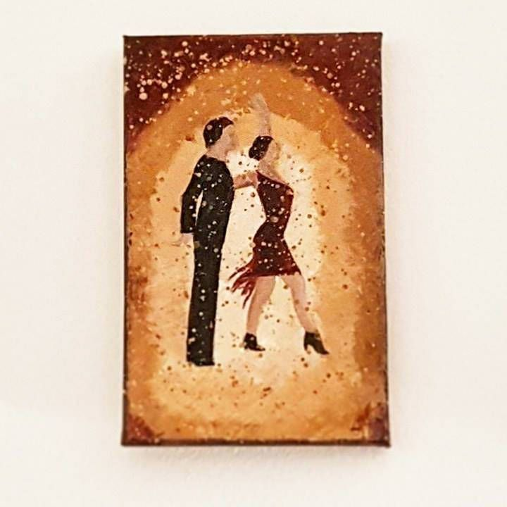 Latin Dancers Small Canvas Art as a Gift ideas for her - Dancing Original Acrylic Painting - Miniature Canvas by DeniseArtStudio on Etsy