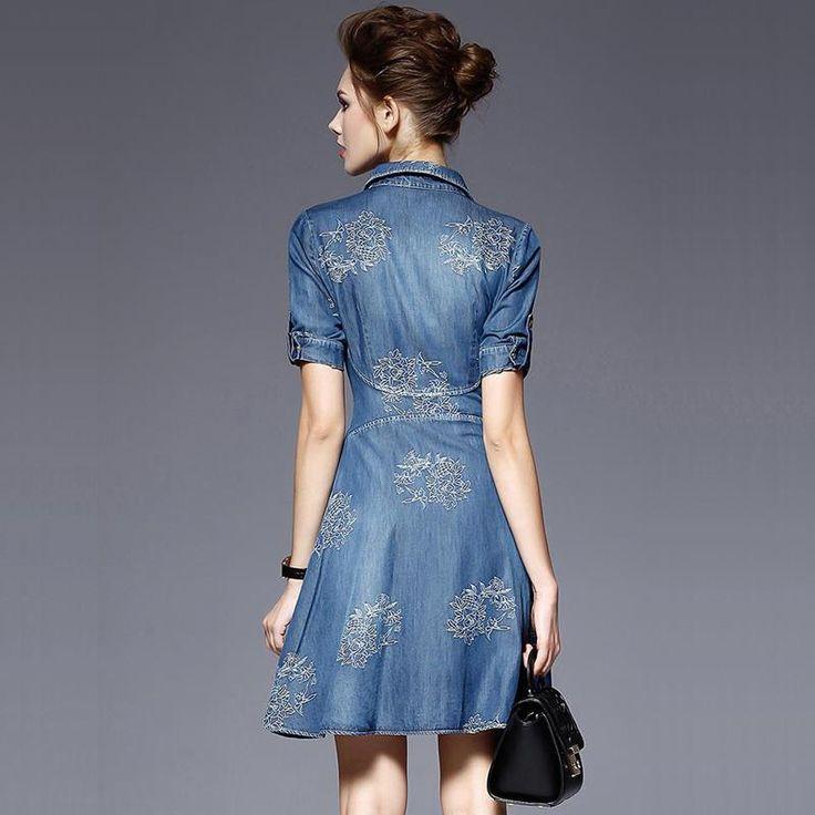 2017 denim dress mulheres plus size meia manga verão dress azul denim jeans dress for women ladies casual party dress