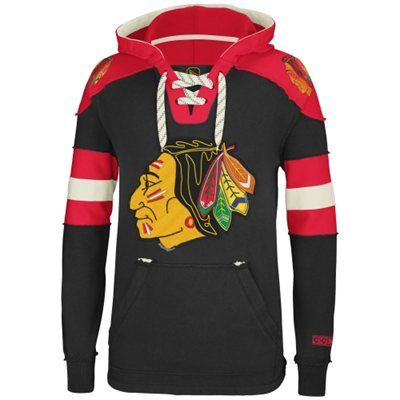 Reebok Chicago Blackhawks CCM Pullover Hoodie - Black. Love the style of this pullover! Perfect for my brother!