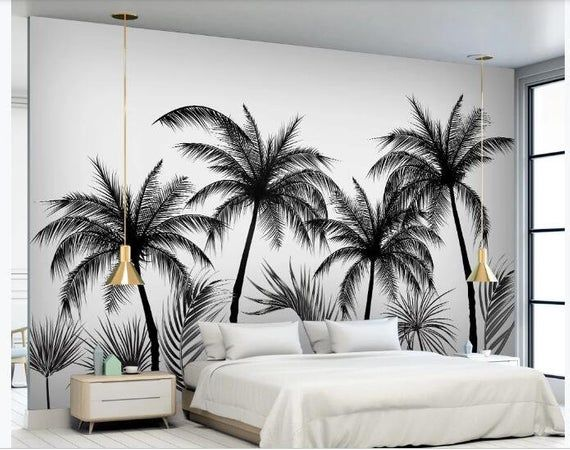 Sketch Black And White Coconut Trees Wallpaper Wall Mural Etsy Tree Wall Murals Bedroom Murals Wallpaper Bedroom Bedroom background wall decal