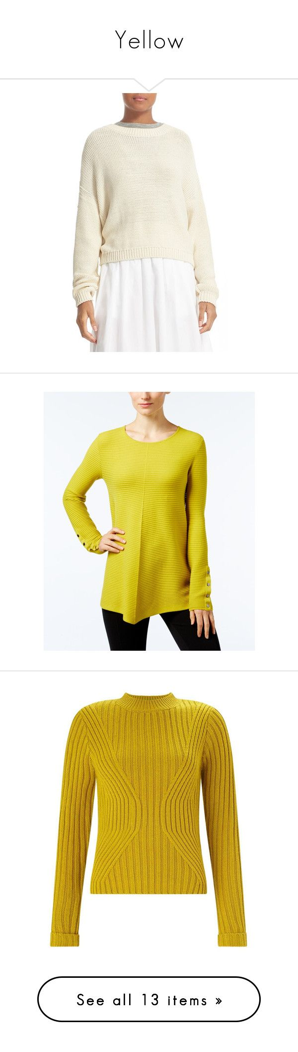 """Yellow"" by eleonora114310 ❤ liked on Polyvore featuring tops, sweaters, bleached, drop shoulder sweater, white slouchy sweater, white crew neck sweater, drop shoulder tops, white sweater, luxe lime and petite tops"