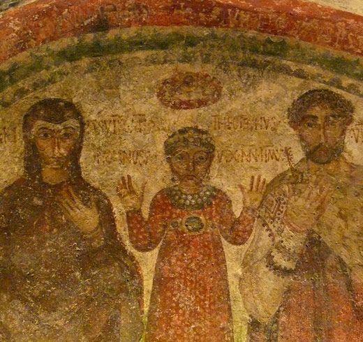 Catacombe di San Gennaro, Napoli. L'affresco della famiglia di Theotecnus con la moglie Ilaritas e la piccola Nonnosa. Inizio del VI secolo