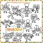Cute holidays owls clip art (digital stamps, coloring graphic) S055.   Cute holidays owls. There are 12 owls. Each represents each month.  These di...