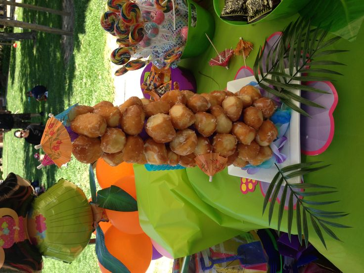 Donut hole tower for summer luau birthday party! Dessert ...