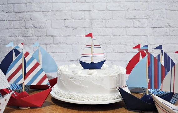 Mini Paper sailboat cake topper, only $3!  {Etsy}