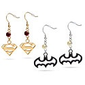 batman/superman earrings