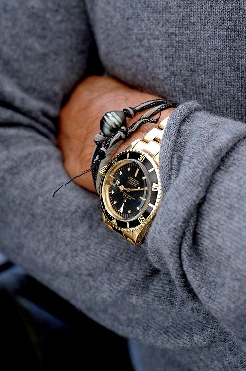 Probably The Only Yellow Gold Watch I D Ever Wear Rolex Submariner And Black Solid Bracelets As Well In Gunmetal Grey All Of It Is A Good Combo