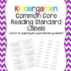 This set includes labels to organize file folders by Common Core Standards. This set covers CCSS Reading for KINDERGARTEN only. The larger labels a...