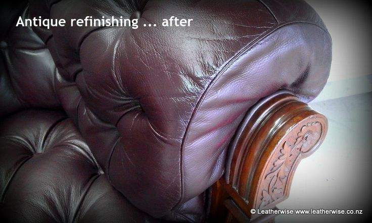 Antique chesterfield leather refinishing ... after