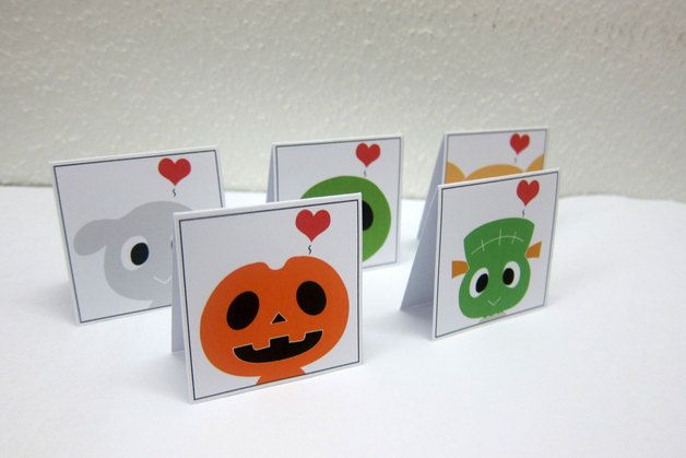 via en.dawanda.com Halloween – Mini Note Cards Halloween - Set of 10 – a unique product by araleling on DaWanda