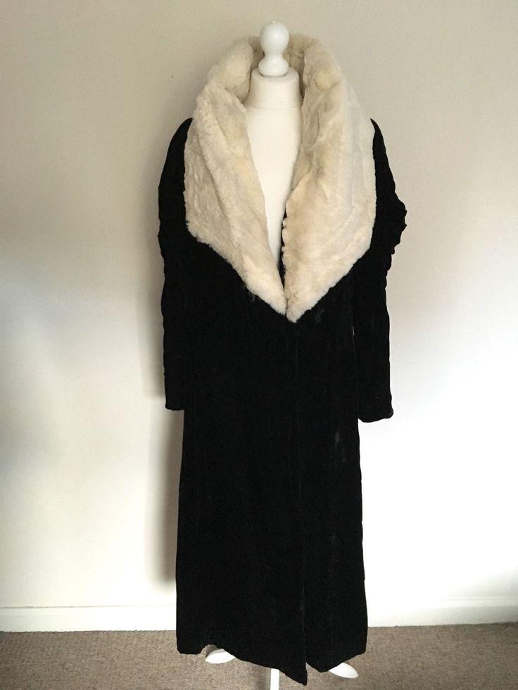Black Velvet Vintage Opera Coat Floor Length Maxi Dramatic