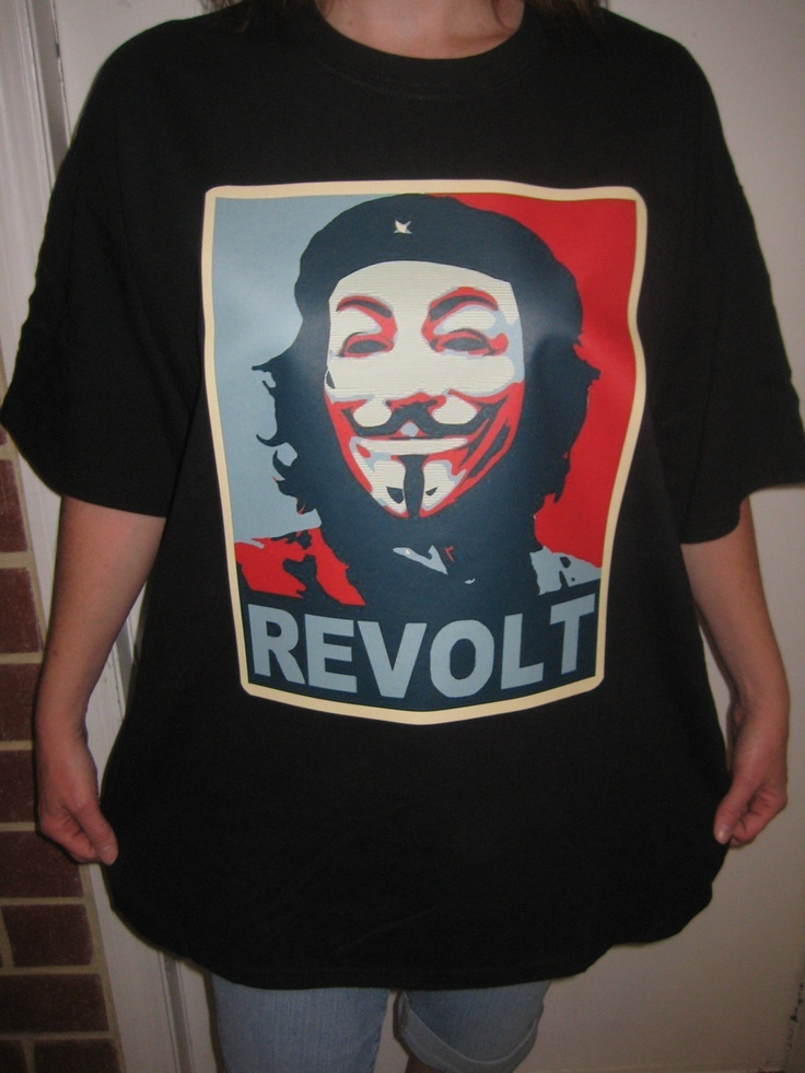 Anonymous Che Guevarra Guy Fawkes T-shirt mask REVOLT. $14.99, via Etsy.