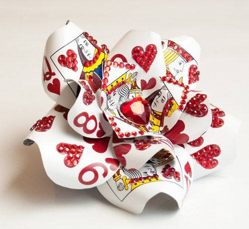Alice in Wonderland Playing Card Rhinestone Heart Hair Flower Fascinator - DIY Idea