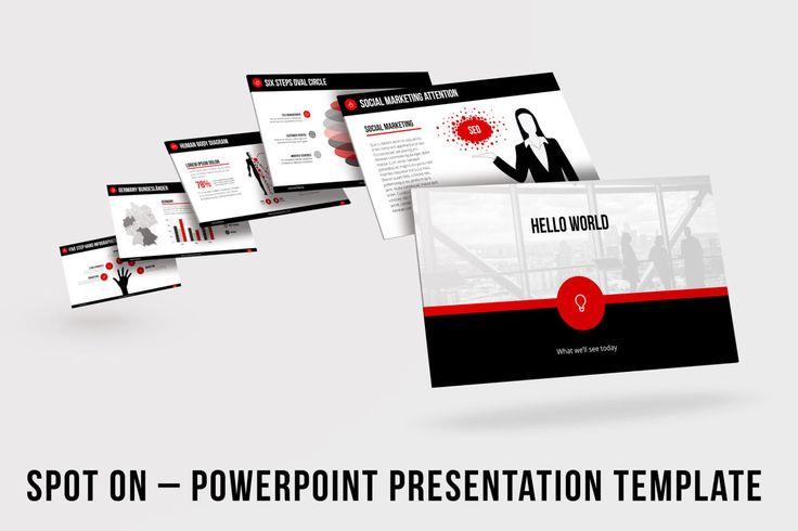 Template de Apresentação em PowerPoint – Spot On  Spot On é um modelo de apresentação PowerPoint de negócios para Powerpoint, com mais de 200 slides individuais em design limpo e moderno. O modelo vem em esquemas claros e escuros da cor, e todas as cores podem ser mudadas facilmente – por exemplo para caber a identidade incorporada da sua companhia.