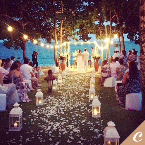 IF We Can Add Lights This Is Beautiful Outdoor Nighttime Wedding With Lanterns And Twinkle So