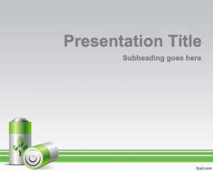 Green energy PowerPoint template is a free green template for PowerPoint with batteries on the slide design and that can be used for green presentations in PowerPoint