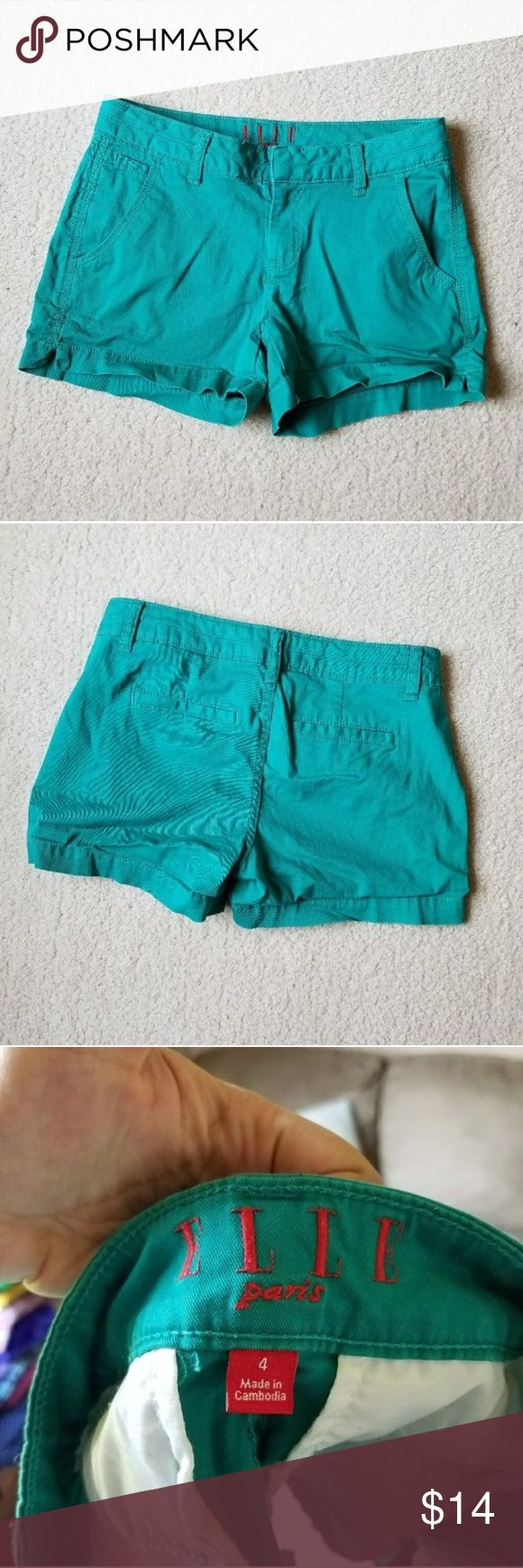 Elle Paris Teal Shorts Gently used . Stretch .  #092404 Elle Shorts