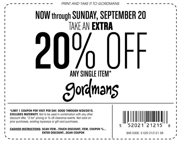 gordmans Printable Coupons May 2016: in store 20% Off gordmans coupons for may 2016. read more : http://www.website-coupons.com/2016/02/gordmans-coupons.html