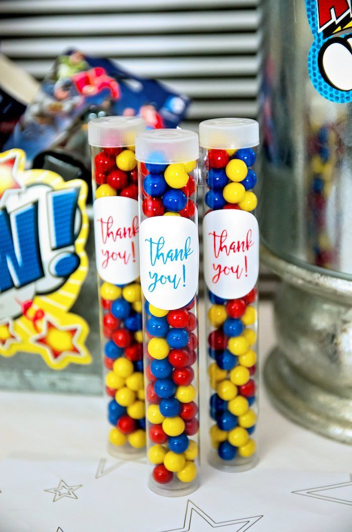 Superhero favor tubes from a Wonder Woman Superhero Birthday Party on Kara's Party Ideas | KarasPartyIdeas.com (15)