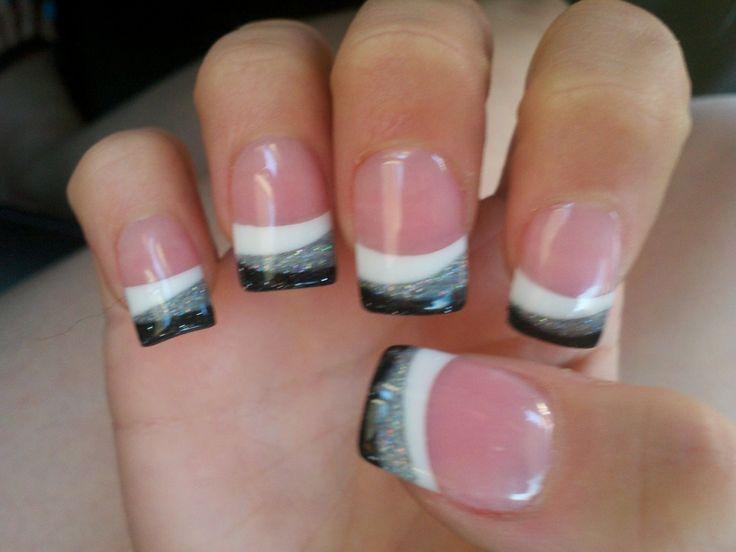 black white silver stripe funky french tips nail art design