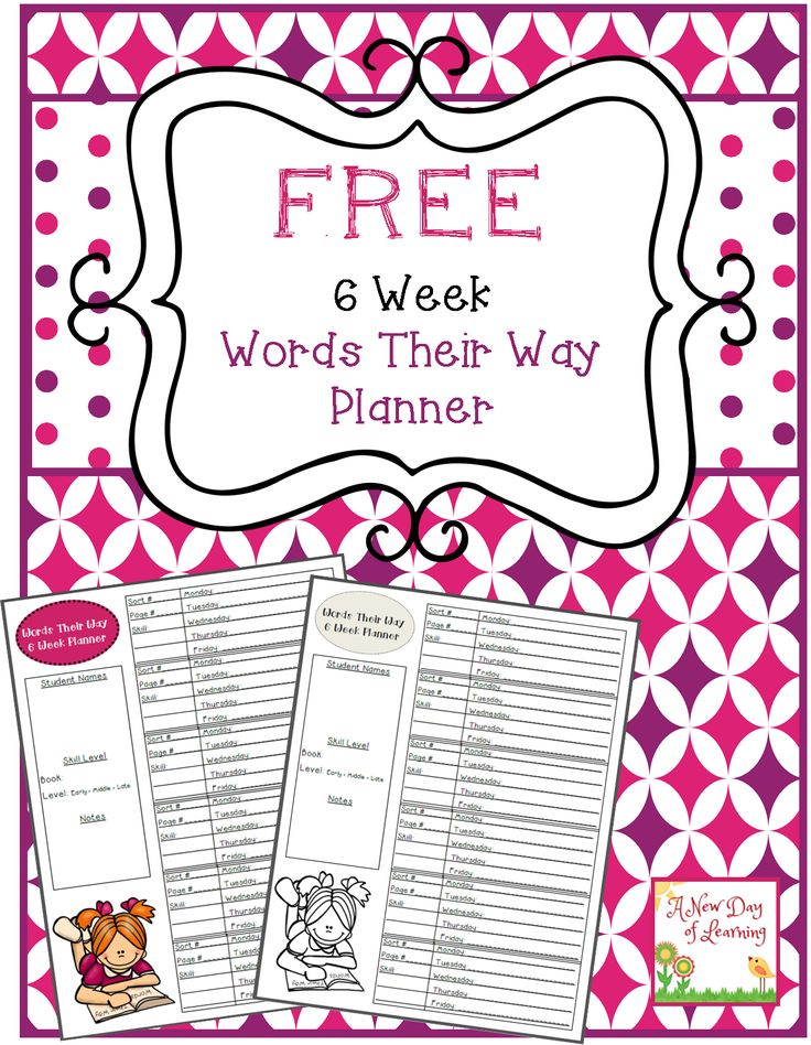 Free Words Their Way 6 Week Planner