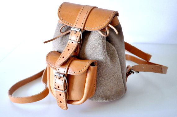 Petite Two Toned Nude Leather Backpack by TheSquareMoon on Etsy, €28.00