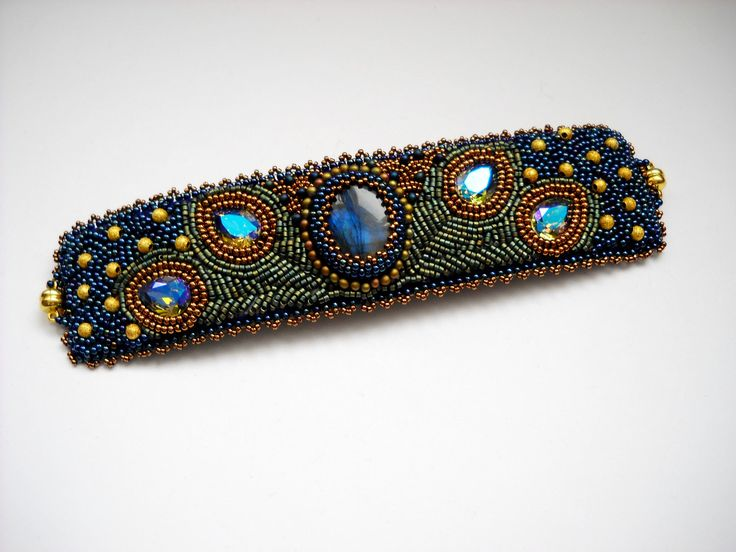 beaded peacock pattern | for ATC 1st layaway - Peacock Bead Embroidery Bracelet Blue Green Bead ...