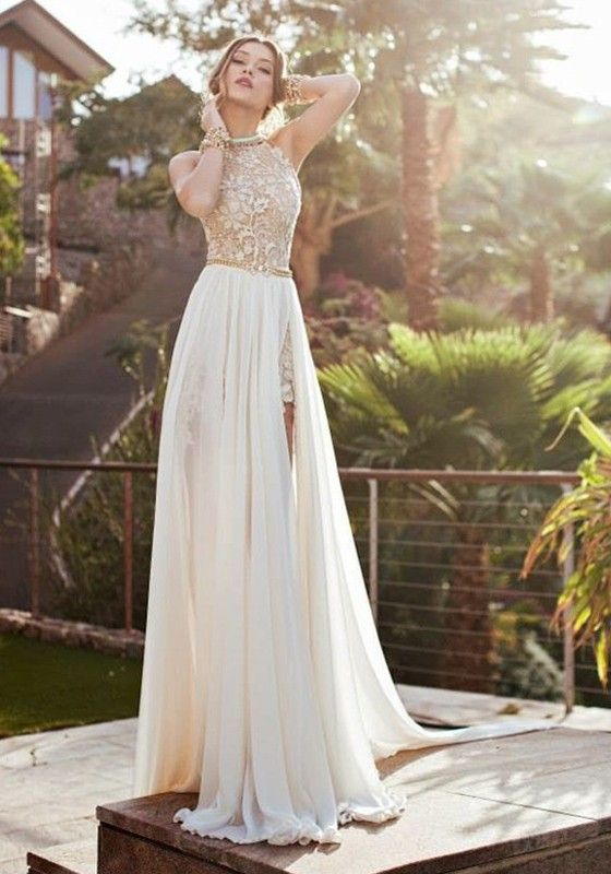 White Lace Side Slits Backless Sleeveless Halter Beach Wedding Sexy Maxi Dress